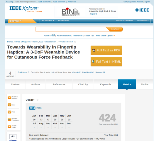 IEEE Xplore Abstract (Metrics) - Towards Wearability in Fingertip Haptics: A 3-DoF Wearable Device for Cutaneous Force Feedback - Google Chrome_004