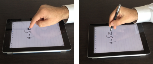 The benchmark: writing on a tablet with the finger and with the stylus. Which solution is better? From: D. Prattichizzo et al., 2015.