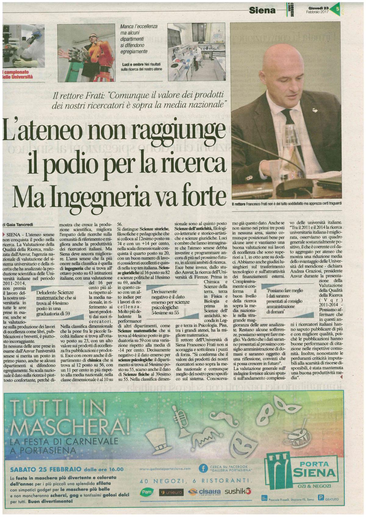 Ingegneria a Siena è ottava su 68 inItalia